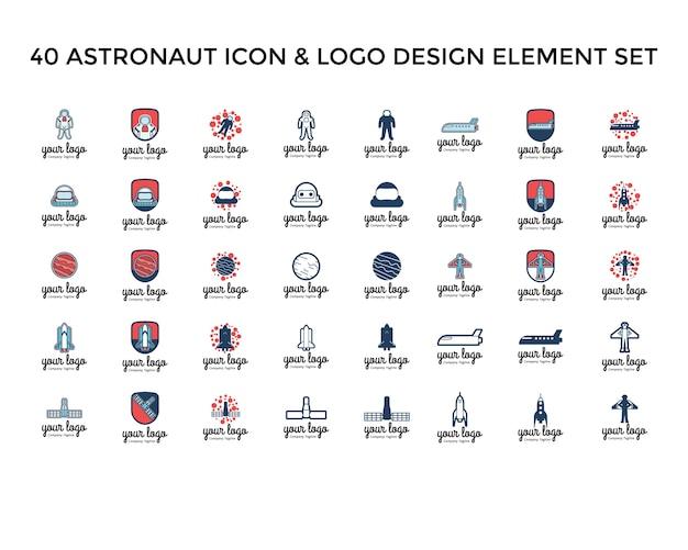 Astronaute icon logo design set
