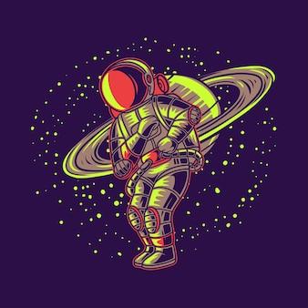 Astronaute avec illustration aventure planète