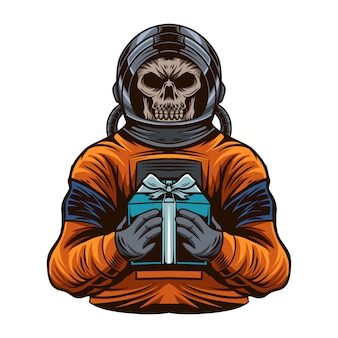 Astronaute avec l'illustration vectorielle de crâne tête apporter une boîte-cadeau isolée