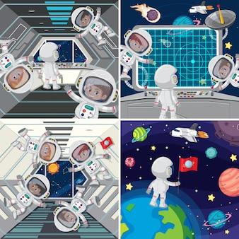 Astronaute à l'intérieur du vaisseau spatial