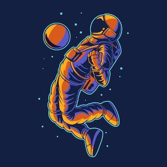 Astronaute isolé sur le football contrôle de l'espace