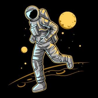 Astronaute jogging sur l'espace avec la lune sur la conception d'arrière-plan
