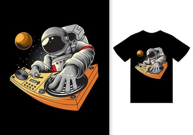 Astronaute jouant dj dans l'illustration de l'espace avec vecteur premium de conception de tshirt