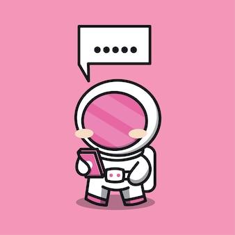 Astronaute jouant illustration de dessin animé de vecteur de téléphone