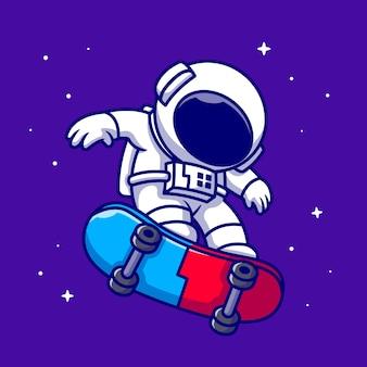 Astronaute jouant à la planche à roulettes dans l'espace dessin animé icône illustration. icône de l'espace de sport science isolé. style de bande dessinée plat