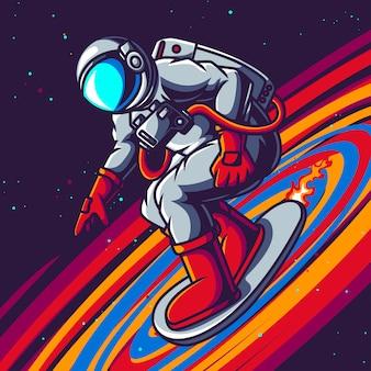 Astronaute jouant à la planche à roulettes sur l'espace