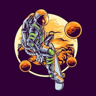 Astronaute jouant à la planche à roulettes