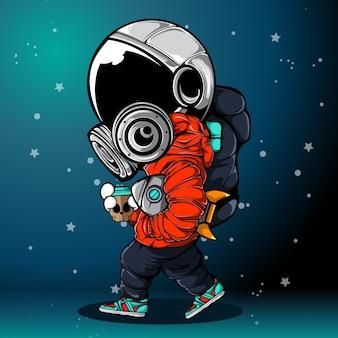 L'astronaute avec le jouet fusée marchant dans l'espace