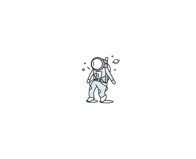Astronaute ligne plate art design illustration.