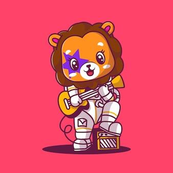 Astronaute lion mignon jouant l'illustration de l'icône de la guitare