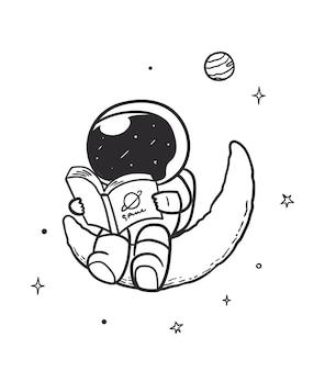 Astronaute lisant un livre dans l'espace