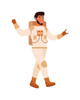 Astronaute mâle drôle de bande dessinée isolé sur fond blanc