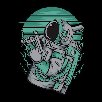 Astronaute manipulant des armes à feu illustration