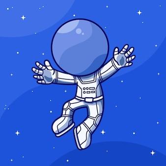 Astronaute mignon agitant dans le ciel