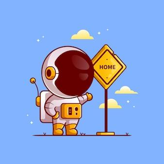 Astronaute mignon aller à la maison cartoon illustration