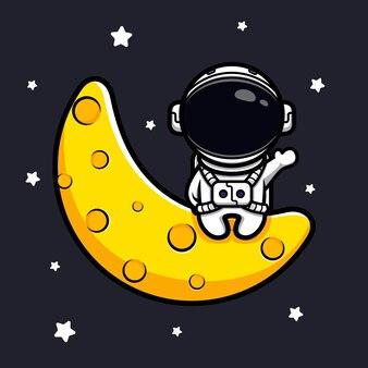 Astronaute mignon assis sur la lune et agitant la mascotte de la main