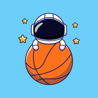 Astronaute Mignon Sur Ballon De Basket Vecteur Premium