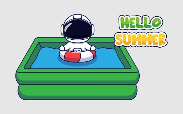 Astronaute mignon avec bannière de voeux d'été bonjour