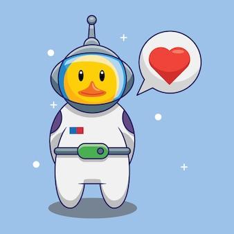 Astronaute mignon de canard tombant amoureux dans l'illustration de vecteur de dessin animé de l'espace. concept de design gratuit isolé vecteur premium
