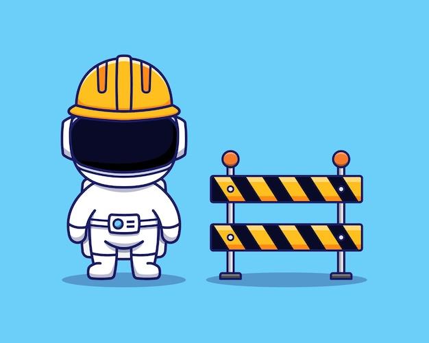 Astronaute mignon avec casque et barrage routier