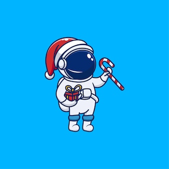 Astronaute mignon célébrant noël