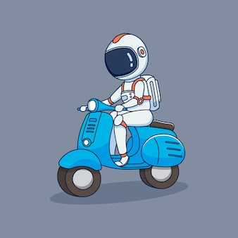 Astronaute mignon chevauchant un scooter