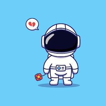 Astronaute Mignon Coeur Brisé Portant Une Fleur Rouge Vecteur Premium