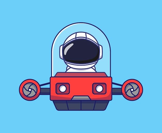 Astronaute mignon conduisant un véhicule volant