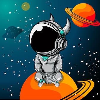 Astronaute mignon avec corne assis sur la planète