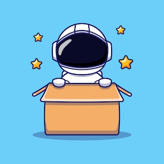Astronaute mignon dans la boîte