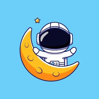 Astronaute mignon dans la lune
