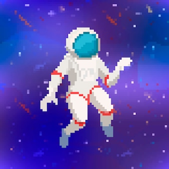 Astronaute mignon dans un style pixel art sur fond d'espace violet