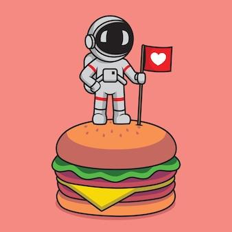 Astronaute mignon debout dans l'illustration de dessin animé de hamburger