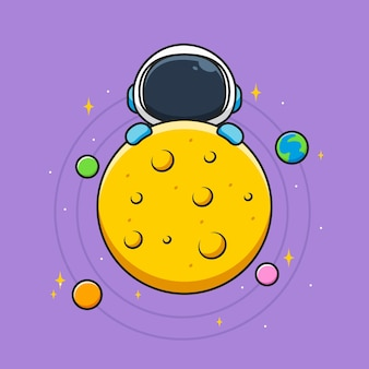 Astronaute mignon derrière la lune et les planètes