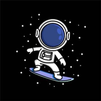 Astronaute mignon avec dessin animé de planche de surf