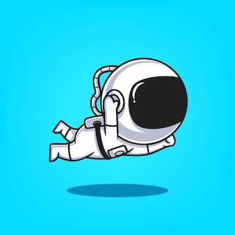 Astronaute mignon dessinés à la main icône volante illustration vectorielle de dessin animé