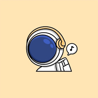 Astronaute mignon écoutant de la musique sur un dessin animé de casque sans fil