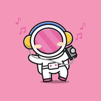 Astronaute mignon écoute illustration de dessin animé de musique