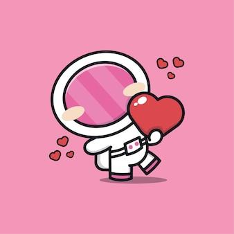 Astronaute mignon embrasse une illustration de coeur
