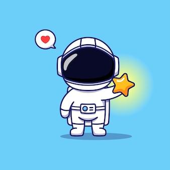 Astronaute mignon avec étoile brillante