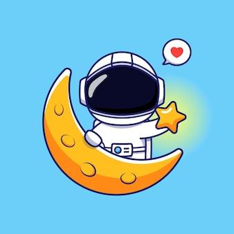 Astronaute mignon avec étoile et lune
