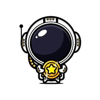 Astronaute mignon étreignant des pièces d'or