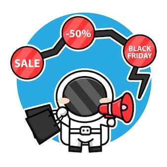 Astronaute mignon faisant du shopping à l'aide de l'illustration du concept de vendredi noir de vecteur de dessin animé mégaphone