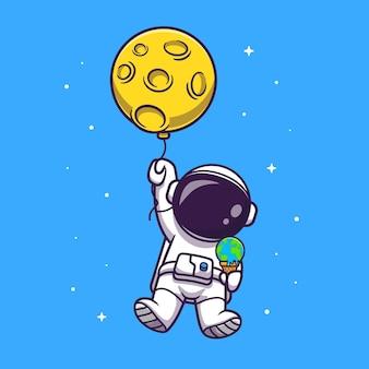 Astronaute mignon flottant avec ballon de lune et illustration de crème glacée de la terre