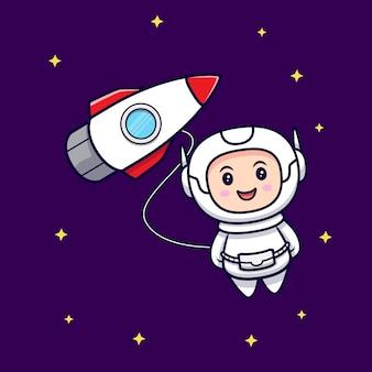 Astronaute mignon flottant dans l'illustration de dessin animé de l'espace extra-atmosphérique. style de bande dessinée plat