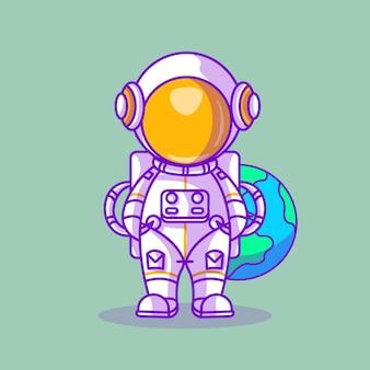 Astronaute mignon avec illustration vectorielle de terre