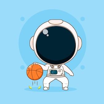 Astronaute mignon jouant l'illustration du personnage de basket-ball