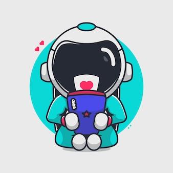 Astronaute mignon jouant illustration de handphone