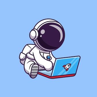 Astronaute mignon jouant ordinateur portable cartoon vector icon illustration. icône de technologie scientifique