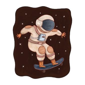 Astronaute mignon jouant à la planche à roulettes